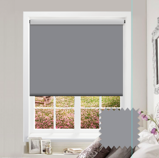 Grey Roller Blind - Bahamas Night Grey Plain - Just Blinds